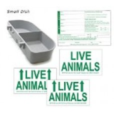 Kennel Travel Kit for Pets - Hook-On Dish & Live Animal Labels (Small)