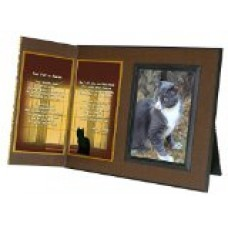 Cat Lover Remembrance Gift, Four Feet in Heaven Poem, Memorial Pet Loss Picture Frame Keepsake and Sympathy Gift Package, with optional custom photo editing, Rich Dark Brown with Foil Accent