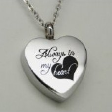 Always in My Heart Urn Locket Cremation Jewelry Necklace Memorial by Kniep Collections