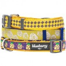 Blueberry Pet Dog Collar Leash Harness Gold Cross Print 3/4